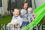 Laura Jane Nealon her son Evan Centre of photo (14 months) who suffers from CF, also in photo is Evans twin Alex and Dylan (4).