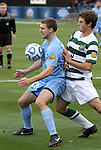 11 December 2011: North Carolina's Billy Schuler (left) and UNCC's Thomas Allen (5). The University of North Carolina Tar Heels defeated the University of North Carolina Charlotte 49ers 1-0 at Regions Park in Hoover, Alabama in the NCAA Division I Men's Soccer College Cup Final.