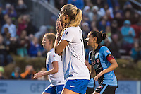 Allston, MA - Saturday, May 07, 2016: Boston Breakers midfielder Kristie Mewis (19) reacts to a missed penalty shot during a regular season National Women's Soccer League (NWSL) match at Jordan Field.