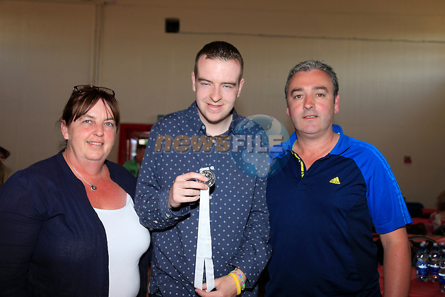 Tersena Carolan Sean and Garry Carolan at the welcome home party for the Drogheda Special Olympics team.<br /> Picture:  www.newsfile.ie