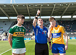 Paul O Shea of Kerry and Cillian Rouine of Clare with referee John Ryan before their Munster Minor football final at Pairc Ui Chaoimh. Photograph by John Kelly.