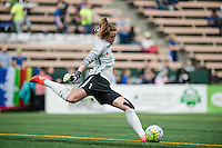 Seattle, WA - Sunday, May 22, 2016: Chicago Red Stars goalkeeper Alyssa Naeher (1) clears the ball during a regular season National Women's Soccer League (NWSL) match at Memorial Stadium. Chicago Red Stars won 2-1.