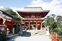 Udo Jingu Shrine (near Nichinan)) is located in a large sea-eroded cave on the Pacific Ocean at the tip of Cape Udo. It is dedicated to the mythological father of the mythological first emperor of Japan.
