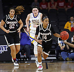 SIOUX FALLS, SD - MARCH 7:  Marissa Preston #14 of Omaha dribbles down the court chased by Ellie Thompson #45 of South Dakota State and Vanessa Barajas #32 of Omaha in the 2016 Summit League Tournament. (Photo by Dick Carlson/Inertia)