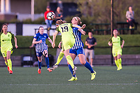 Boston, MA - Saturday April 29, 2017: Natasha Dowie and Kristen McNabb during a regular season National Women's Soccer League (NWSL) match between the Boston Breakers and Seattle Reign FC at Jordan Field.