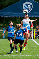 Kansas City, MO - Saturday September 9, 2017: Becca Moros, Maegan Kelly, Sofia Huerta during a regular season National Women's Soccer League (NWSL) match between FC Kansas City and the Chicago Red Stars at Children's Mercy Victory Field.