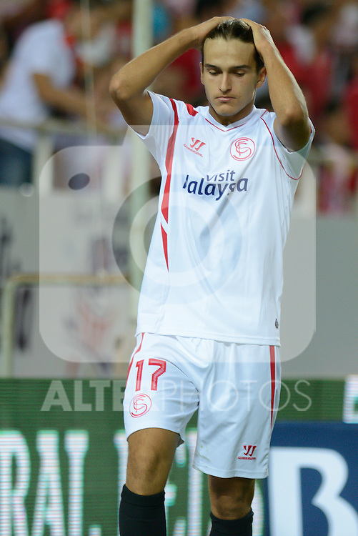 Sevilla's Denis Suarez laments one goal have failed during the match between Sevilla FC and Villarreal day 9 spanish  BBVA League 2014-2015 day 5, played at Sanchez Pizjuan stadium in Seville, Spain. (PHOTO: CARLOS BOUZA / BOUZA PRESS / ALTER PHOTOS)