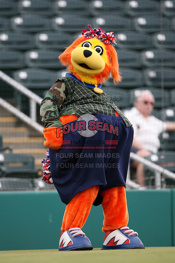 "August 14, 2008: Fort Meyers Miracle mascot ""Miss A-Miracle"" at Hammond Stadium in Fort Meyers, FL. Photo by: Chris Proctor/Four Seam Images"