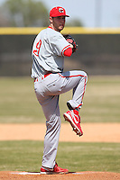 March 15, 2010:  Pitcher Travis Ratliff (19) of the Cortland Red Dragons in a game vs Wheaton College at Lake Myrtle Park in Auburndale, FL.  Photo By Mike Janes/Four Seam Images