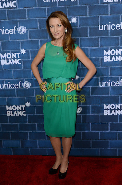 Jane Seymour.Montblanc Hosts Pre-Oscar Charity Brunch Benefiting UNICEF held at Hotel Bel-Air, Los Angeles, California, USA..February 23rd, 2013.full length dress green sleeveless black shoes hands on hips .CAP/ADM/TW.©Tonya Wise/AdMedia/Capital Pictures