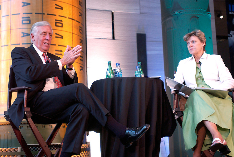WASHINGTON: July 12, 2007: House Majority Leader Steny Hoyer, D-Md., and Cokie Roberts, news analyst for NPR and ABC, during the fifth annual Summer Intern Town Hall Meeting. Hosted by the Partnership for Public Service and the Smithsonian National Air and Space Museum, the town hall is part of an initiative to encourage young people to pursue careers in the federal government. After the questions and answer session with Hoyer, the interns attended a job fair at the museum with federal recruiters from more than 35 agencies.                                                               Congressional Quarterly Photograph by Dana Statton