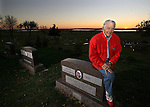 EUREKA, SD - OCTOBER 10, 2007: Al Neuharth, founder of USA Today and the Freedom Forum, poses for a photo at the cemetery during sunset in Eureka, SD. (Photo by Dave Eggen/Inertia/Freedom Forum)