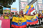 Ecuadorean fans show their support for race leader Richard Carapaz (ECU) Movistar Team during Stage 21 the final stage of the 2019 Giro d'Italia, an individual time trial running 17km from Verona to Verona, Italy. 2nd June 2019<br /> Picture: Fabio Ferrari/LaPresse | Cyclefile<br /> <br /> All photos usage must carry mandatory copyright credit (© Cyclefile | Fabio Ferrari/LaPresse)