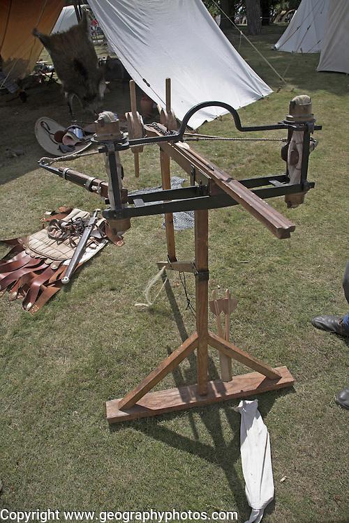 Living History event, Sutton Hoo, Suffolk, England. A Roman stinger machine for firing arrows,