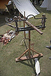 Living History event, Sutton Hoo, Suffolk, England. A Roman stinger machine for firing arrows,