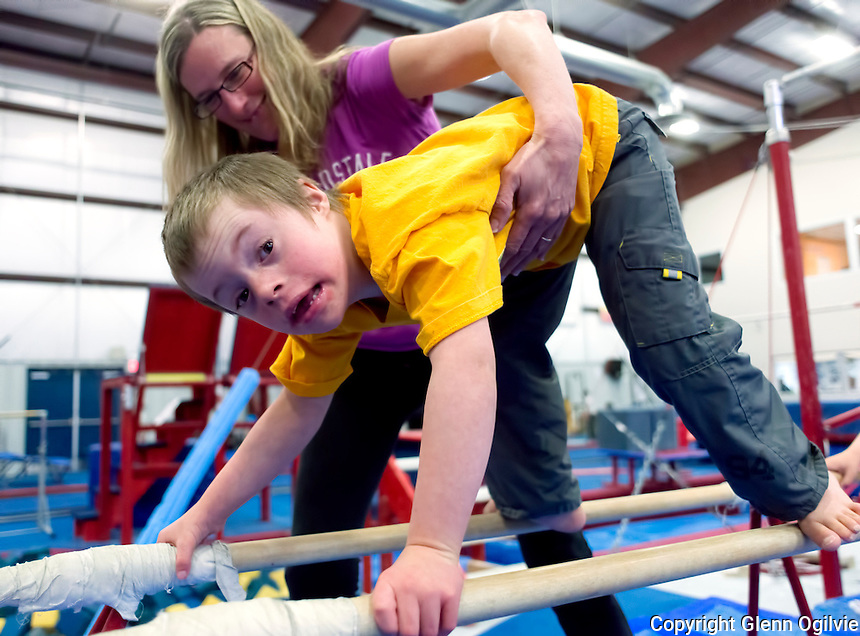 Jaiden Bedard with worker Cindy Haas<br /> <br /> <br /> Bluewater Gymnastics and Pathways are partners for special needs children of Sarnia. Heading up the program are Amy Spadafora, therapeutic recreation at Pathways and Niki Nauta, a coach for Bluewater Gymnastics