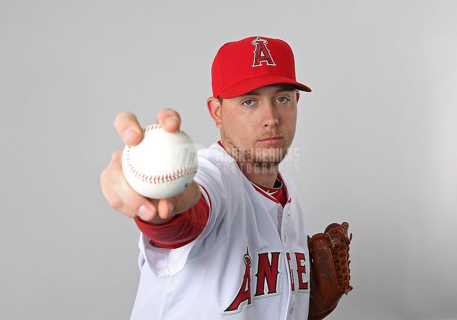 Feb. 21, 2113; Tempe, AZ, USA: Los Angeles Angels pitcher Steven Geltz poses for a portrait during photo day at Tempe Diablo Stadium. Mandatory Credit: Mark J. Rebilas-