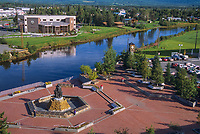 2001 overview of the Golden Heart Park and the Chena River in downtown Fairbanks, Alaska