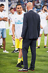 Real Madrid's Keylor Navas and coach Zinedine Zidane during XXXVIII Santiago Bernabeu Trophy at Santiago Bernabeu Stadium in Madrid, Spain August 23, 2017. (ALTERPHOTOS/Borja B.Hojas)