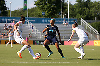 Cary, North Carolina  - Saturday June 03, 2017: Lynn Williams is defended by Yael Averbuch and Becky Sauerbrunn during a regular season National Women's Soccer League (NWSL) match between the North Carolina Courage and the FC Kansas City at Sahlen's Stadium at WakeMed Soccer Park. The Courage won the game 2-0.