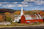 Red barn, white church - fall in Peacham, Northeast Kingdom, VT, USA