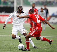 Los Angeles Galaxy midfielder Brandon McDonald (32) and Toronto FC defender Marvell Wynne (16). Toronto FC defeated the Los Angeles Galaxy 2-0 during a Major League Soccer match at BMO Field in Toronto, Ontario, Canada, on May 31, 2008.