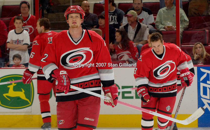 Several Carolina Hurricanes players including Eric Staal used pink sticks to promote breast cancer awareness during a game with the New Jersey Devils Thursday, March 15, 2007 at the RBC Center in Raleigh, NC. The sticks were to be auctioned off later to benefit breast cancer research. New Jersey won 3-2.