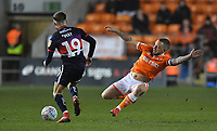 Blackpool's Jay Spearing goes in for a flying tackle on Doncaster Rovers' Alfie May<br /> <br /> Photographer Dave Howarth/CameraSport<br /> <br /> The EFL Sky Bet League One - Blackpool v Doncaster Rovers - Tuesday 12th March 2019 - Bloomfield Road - Blackpool<br /> <br /> World Copyright © 2019 CameraSport. All rights reserved. 43 Linden Ave. Countesthorpe. Leicester. England. LE8 5PG - Tel: +44 (0) 116 277 4147 - admin@camerasport.com - www.camerasport.com