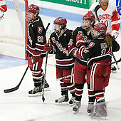 Michelle Picard (Harvard - 20), Kelsey Romatoski (Harvard - 5), Mary Parker (Harvard - 15), Jillian Dempsey (Harvard - 14) - The Boston University Terriers defeated the visiting Harvard University Crimson 2-1 on Sunday, November 18, 2012, at Walter Brown Arena in Boston, Massachusetts.