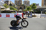 Thomas De Gendt (BEL) Lotto-Soudal recons the course before Stage 1 of the La Vuelta 2018, an individual time trial of 8km running around Malaga city centre, Spain. 25th August 2018.<br /> Picture: Eoin Clarke | Cyclefile<br /> <br /> <br /> All photos usage must carry mandatory copyright credit (© Cyclefile | Eoin Clarke)