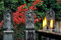 BUDDHIST figures outside DAISHOIN TEMPLE, Mimuro Branch of Shingon Buddhism - MIYA JIMA ISLAND, JAPAN