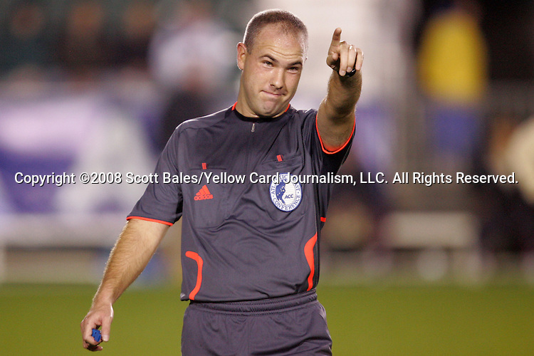 14 November 2008: Referee Brent Sorg. The University of Maryland defeated Boston College 1-0 at WakeMed Stadium at WakeMed Soccer Park in Cary, NC in a men's ACC tournament semifinal game.