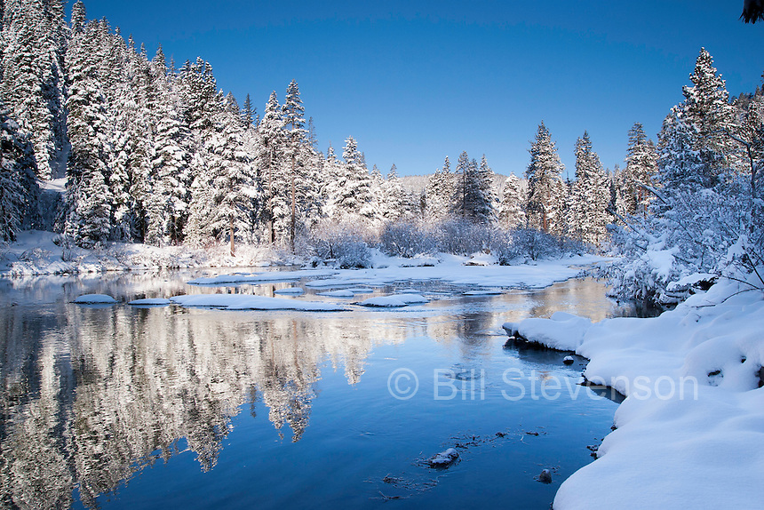 A photo of the Truckee River after a snowstorm