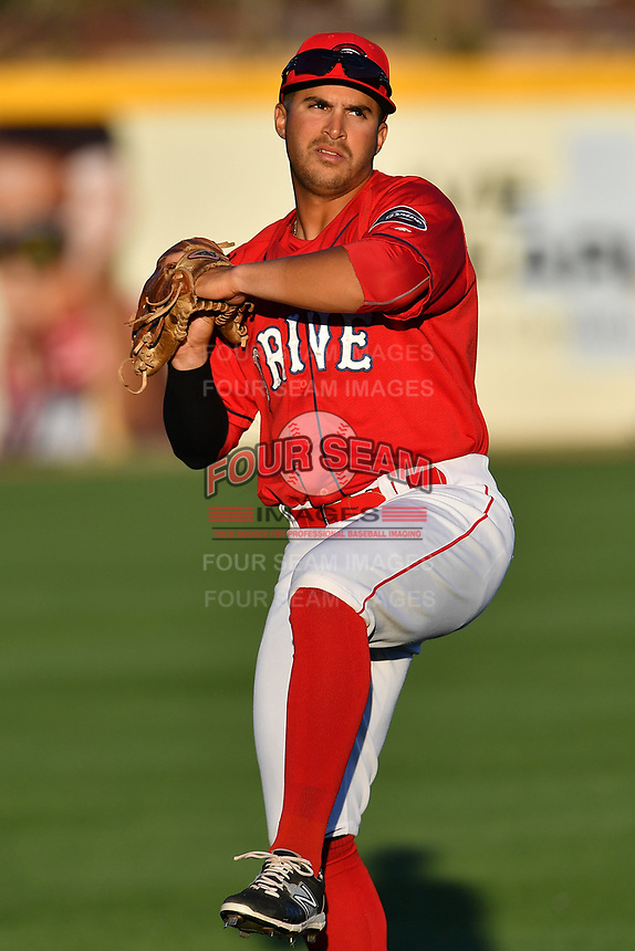 Outfielder Chris Madera (15) of the Greenville Drive at the team's first workout of the season on Tuesday, April 4, 2017, at Fluor Field at the West End in Greenville, South Carolina. (Tom Priddy/Four Seam Images)