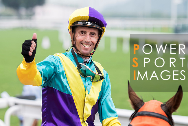 Jockey Nash Rawiller riding horse Good For You celebrates winning the Race 6, Tamar Handicap, at the Sha Tin Racecourse on 03 September 2017 in Hong Kong, China. Photo by Marcio Rodrigo Machado / Power Sport Images