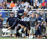 HARTFORD, SD - AUGUST 30:  Cole Tirrel #5 from West Central steps in front of a pass intended for Brody VanGinkel #15 from Dakota Valley during the second quarter of their game Friday night at West Central. Tirrel returned the interception 60 yards for a touchdown.(Photo by Dave Eggen/Inertia)