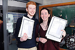 12/8/2015  Jamie Haughey, O' Briens Bridge, who received five A1s, A2 and B1 and Niamh Barton, Castletroy, who recieved three A2's, four Bs. Celerbate their leaving results at Catletroy College.<br /> Pic: Gareth Williams / Press 22