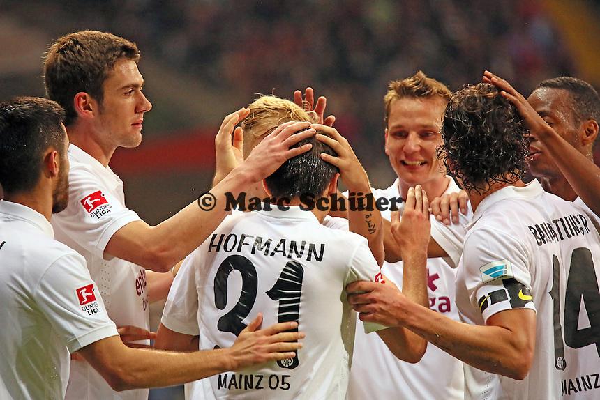 Torjubel Jonas Hofmann (Mainz) beim 0:1 - Eintracht Frankfurt vs. 1. FSV Mainz 05, Commerzbank Arena