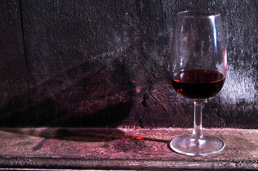 glass on a vat domaine du vissoux beaujolais burgundy france