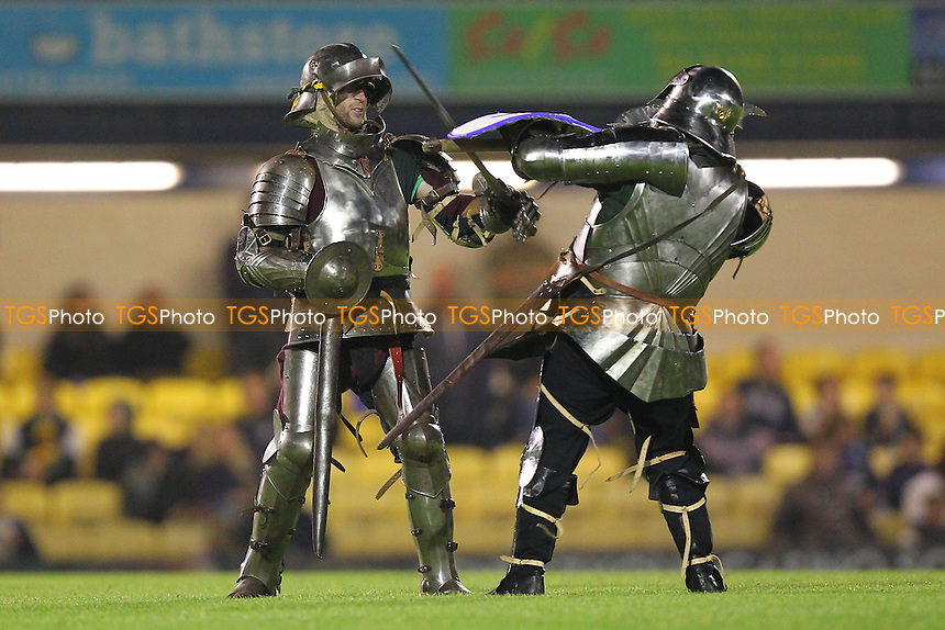 The unusual sight of two knights in armour fighting on the pitch during the half-time interval - Southend United vs Bristol Rovers - Sky Bet League Two Football at Roots Hall, Southend-on-Sea, Essex - 27/09/13 - MANDATORY CREDIT: Gavin Ellis/TGSPHOTO - Self billing applies where appropriate - 0845 094 6026 - contact@tgsphoto.co.uk - NO UNPAID USE
