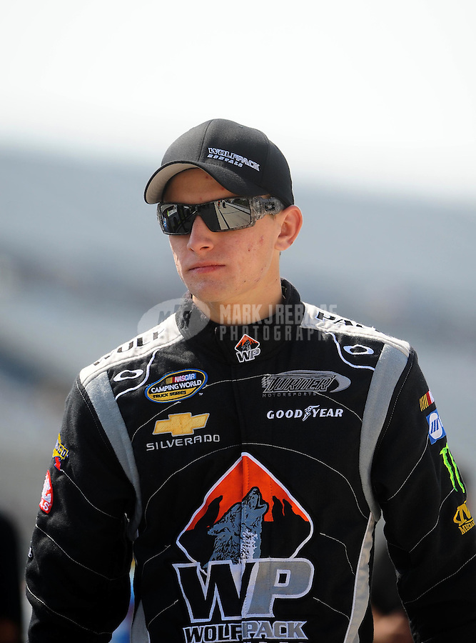 May 14, 2010; Dover, DE, USA; NASCAR Camping World Truck Series driver James Buescher during the Dover 200 at Dover International Speedway. Mandatory Credit: Mark J. Rebilas-
