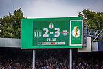 11.08.2019, Stadion an der Bremer Brücke, Osnabrück, GER, DFB Pokal, 1. Hauptrunde, VfL Osnabrueck vs RB Leipzig, DFB REGULATIONS PROHIBIT ANY USE OF PHOTOGRAPHS AS IMAGE SEQUENCES AND/OR QUASI-VIDEO<br /> <br /> im Bild | picture shows:<br /> Anzeigetafel mit Zwischenstand | Endstand 2:3, <br /> <br /> Foto © nordphoto / Rauch