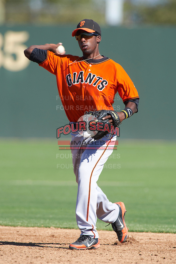 San Francisco Giants minor league infielder Travious Ralaford #2 during an instructional league game against the Oakland Athletics at the Papago Park Baseball Complex on October 17, 2012 in Phoenix, Arizona. (Mike Janes/Four Seam Images)