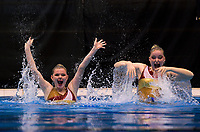 Wellington's Tamon Smith (left) and Sophie Janse. Day One of the 2018 North Island Synchronised Swimming Championships at Wellington Regional Aquatics Centre in Wellington, New Zealand on Saturday, 19 May 2018. Photo: Dave Lintott / lintottphoto.co.nz