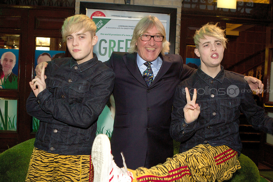 NO FEE PICTURES.1/5/12 John Costigan with Jedward at the opening night of the world premiere of Fiona Looney's new play Greener at the Gaiety Theatre, Dublin. Picture:Arthur Carron/Collins