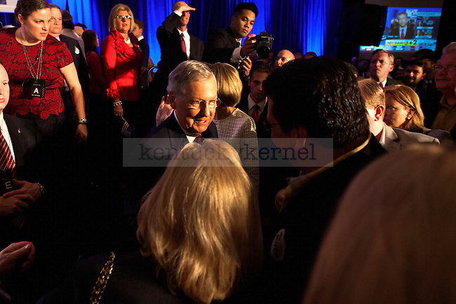 United States Minority Leader Mitch McConnell shakes hands after speaking at his victory celebration after defeating challenger Alison Lundergan Grimes in Louisville, Ky.,on Tuesday, November 4, 2014. Photo by Michael Reaves | Staff