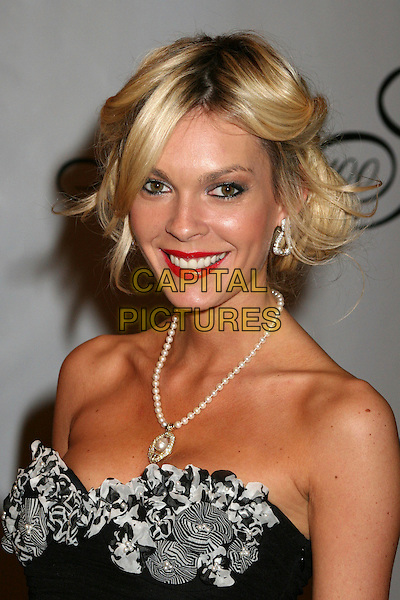 "JASMINE DUSTIN.17th Annual ""Night of 100 Stars"" Oscar Gala at the Beverly Hills Hotel, Beverly Hills, California, USA..February 25th, 2007.headshot portrait pearl necklace black silver detail strapless.CAP/ADM/BP.©Byron Purvis/AdMedia/Capital Pictures"