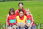 STARS: Young rugby stars who took part in the Munster Rugby School Camp at Tralee Rugby Club on Thursday, l-r: Abby Moriarty(Fenit), Ellie Cunnane (Listowel),Sarah Hoare (Tralee) and Ellen Moriarty (Fenit)...