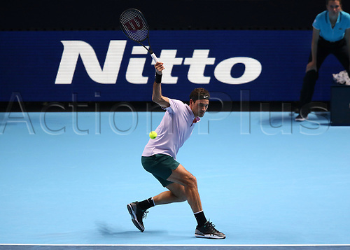 14th November 2017, O2 Arena, London, England; Nitto ATP Tennis Finals; Roger Federer (SWZ) return backhand to Alexander Zverev Jr (GER)