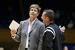 03 December 2015: Minnesota assistant coach Gail Striegler (left) with referee Joseph Vaszily (right). The Duke University Blue Devils hosted the University of Minnesota Golden Gophers at Cameron Indoor Stadium in Durham, North Carolina in a 2015-16 NCAA Division I Women's Basketball game. Duke won the game 84-64.